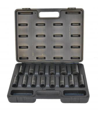 "Impact Socket Set, Metric, 1/2"" drive deep,"