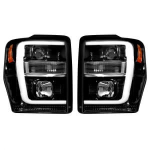 Ford Superduty 08-10 F250/F350/F450/F550 PROJECTOR HEADLIGHTS w/ Ultra High Power Smooth OLED HALOS & DRL - Smoked / Black