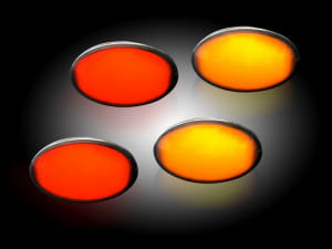 Ford 99-10 Superduty Dually Fender Lenses (4-Piece Set) w/ 2 Red LED Lights & 2 Amber LED Lights - Smoked Lens w/ Black Trim