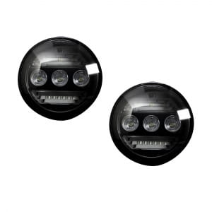 GMC Sierra & Chevy Silverado 15-17 3-Function Fog Light Kit - WHITE LED Fog Lights - WHITE LED Daytime Running Lights - AMBER LED Turn Signals 2-Piece Set (Replaces Both OEM Chevy & GMC 15-17 Fog Lights) - Smoked / Black